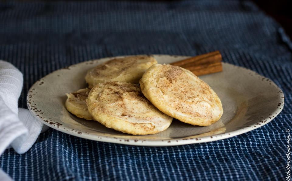 cinnamon roll cookies on a gray plate