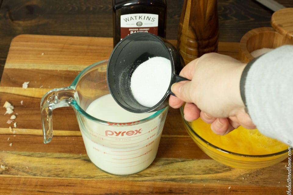 adding sugar to milk