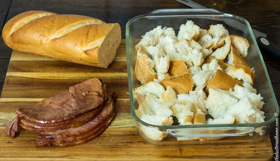 bread torn and placed in casserole dish