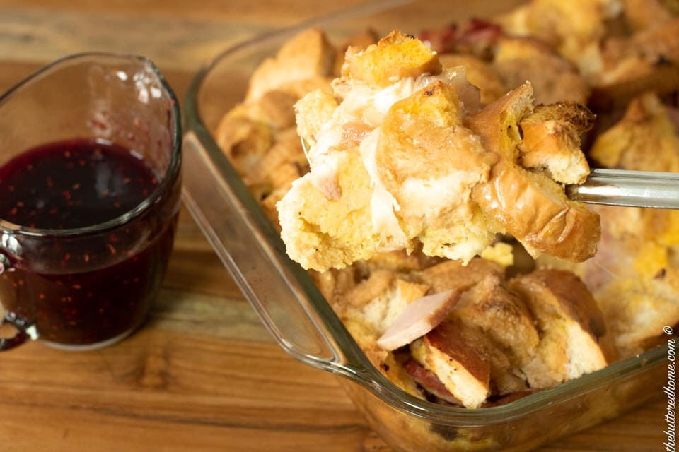 baked monte Cristo casserole right out of the oven