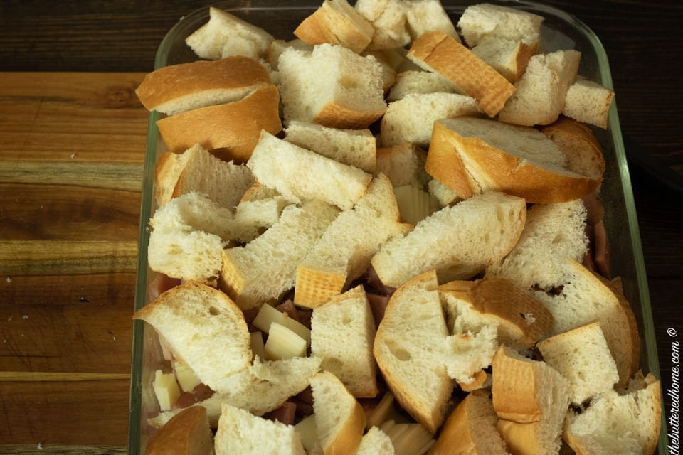 another layer of cubed bread