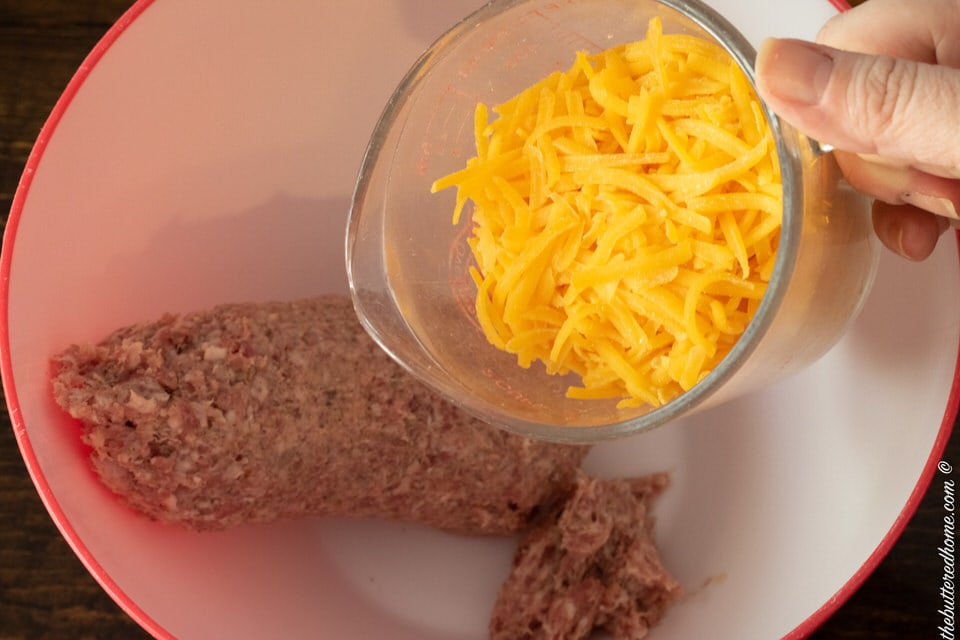 adding cheese to ground sausage