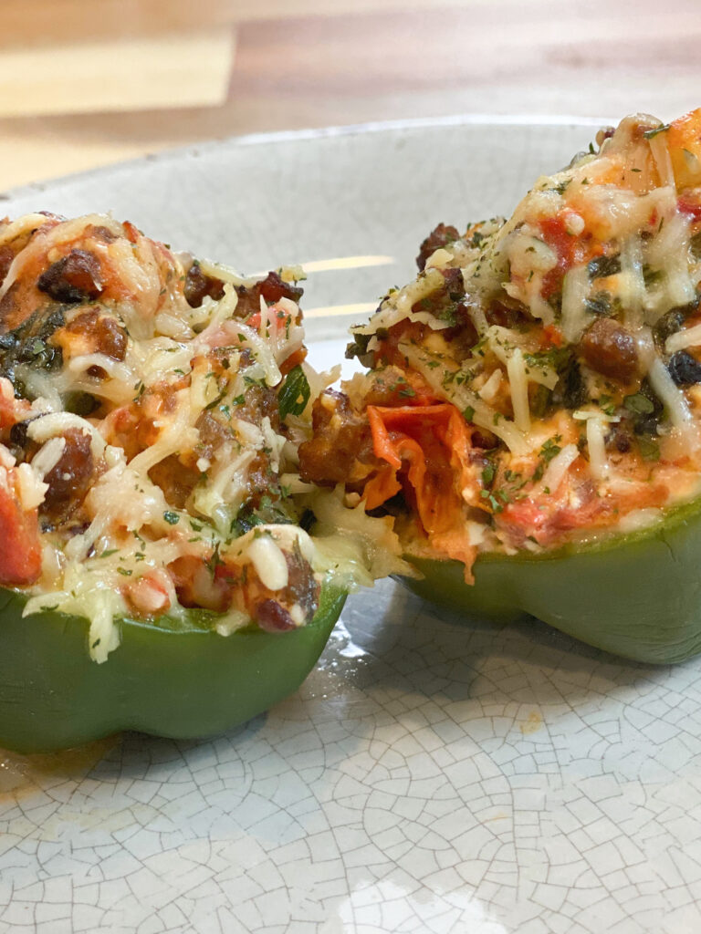 Sausage and Spinach Stuffed Shells using green bell peppers in place of the pasta shells