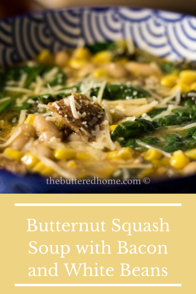 Butternut Squash Soup with Bacon and White Beans pin for pinterest