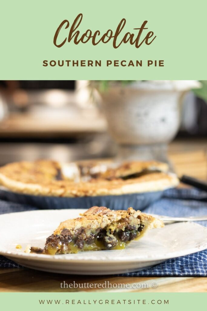 chocolate pecan pie pin for pinterest