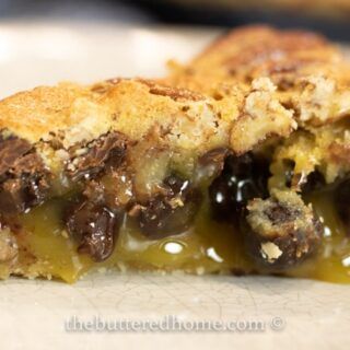 close up of chocolate pecan pie slice