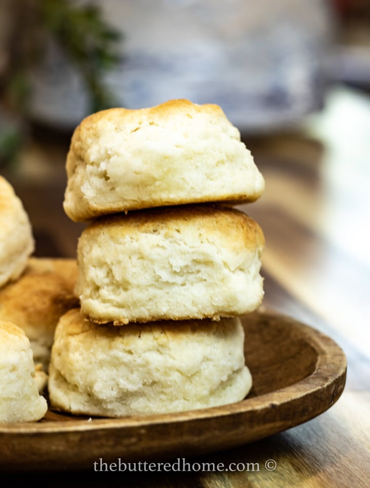 a stack of three homemade biscuits