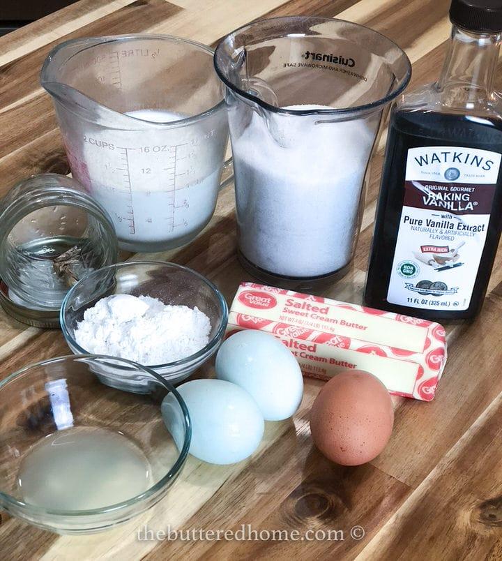 eggs flour milk sugar vanilla nutmeg and lemon juice for buttermilk pie