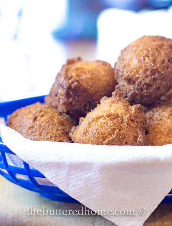 blue basket of hush puppies