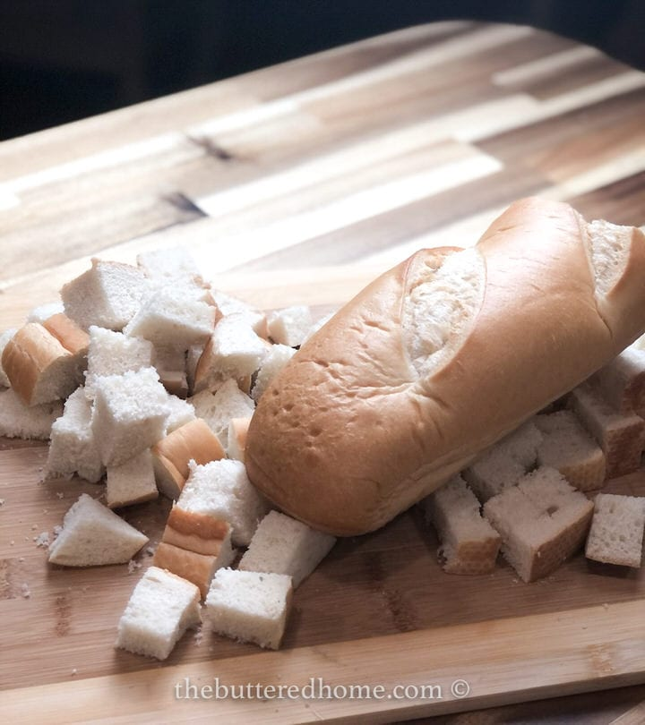 12 oz French bread loaf cut into cubes