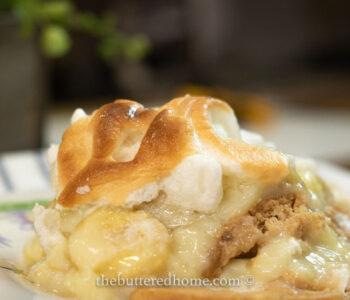 close up of meringue of banana pudding
