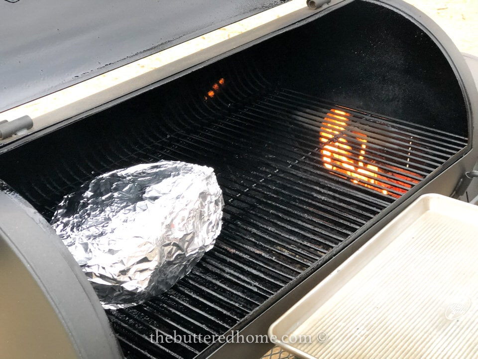 placed wrapped butt on grill indirect heat