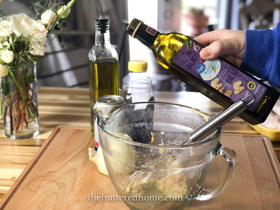 adding balsamic vinegar