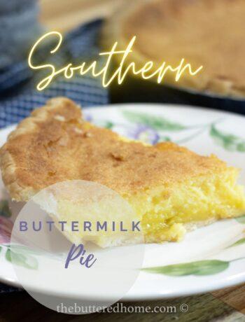 buttermilk pie on floral plate