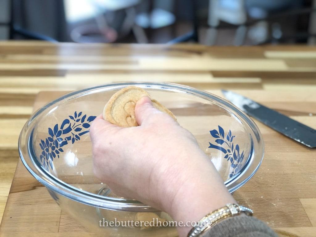 breaking cookies by hand