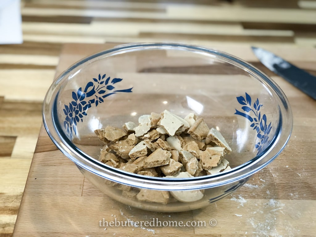 broken up toast yay cookie pieces in a bowl