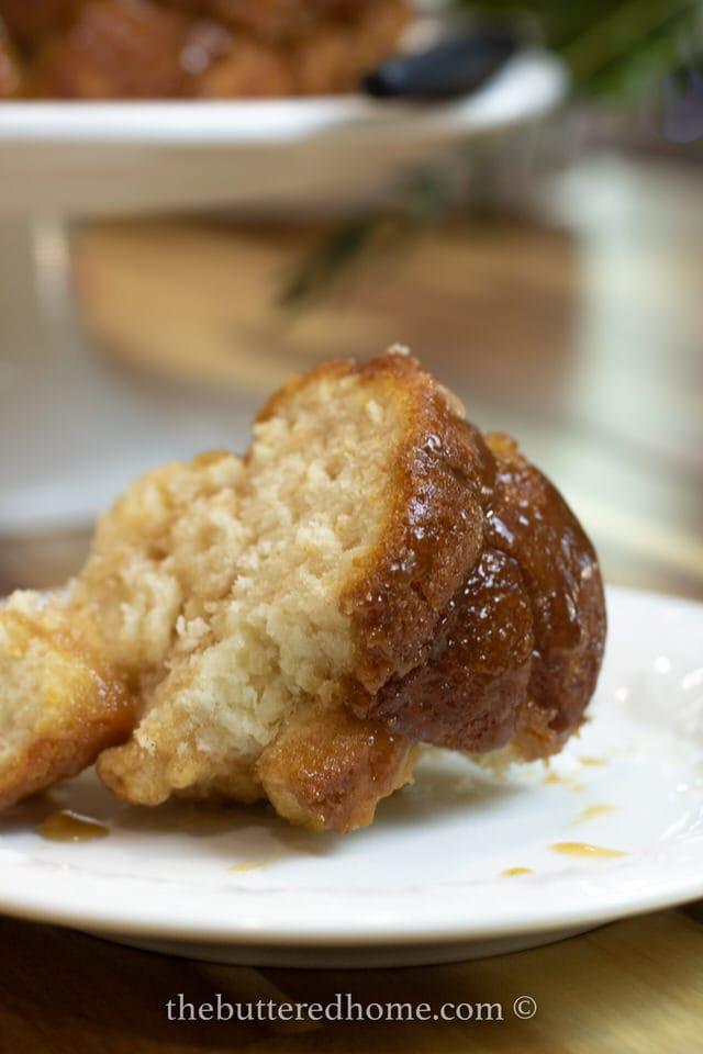 close up of monkey bread slice