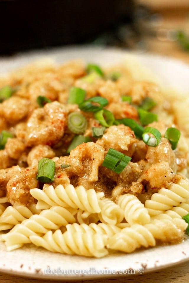 finished plate of crawfish pasta
