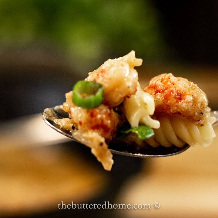 spoonful of crawfish pasta