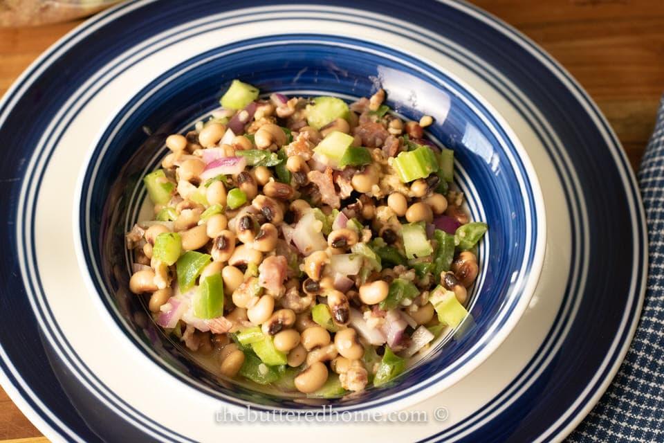 black eyed pea salad in serving bowl