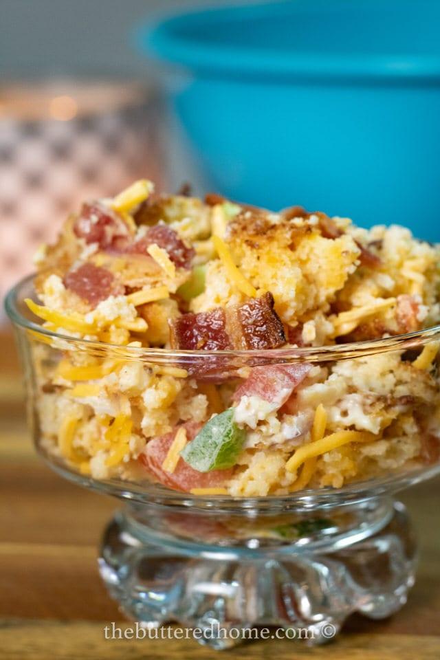 close up of bacon cornbread salad