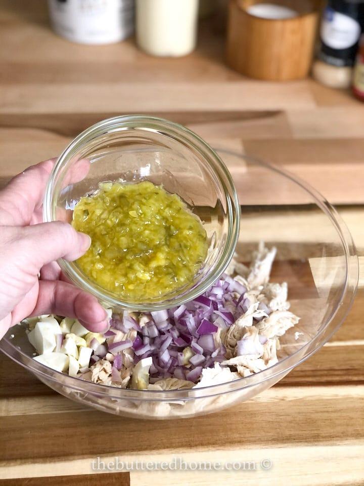 adding dill pickle relish