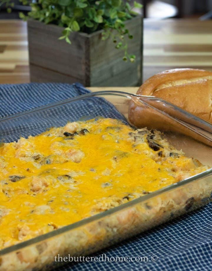 shrimp creole casserole in pan