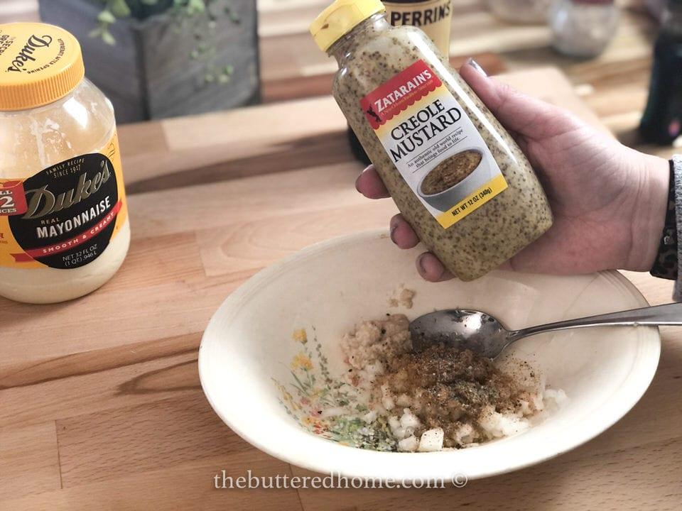 adding creole mustard
