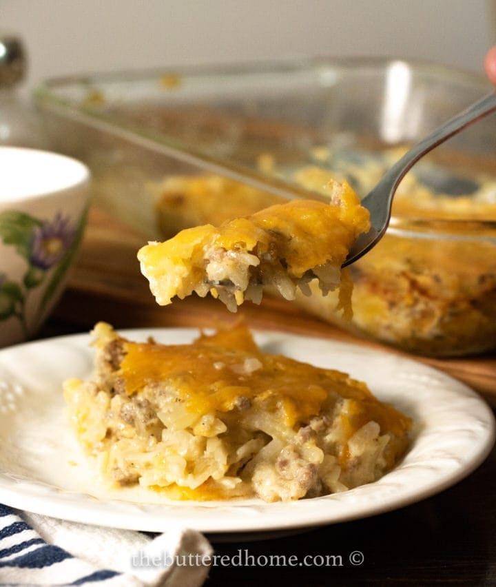 fork full of sausage hashbrown casserole