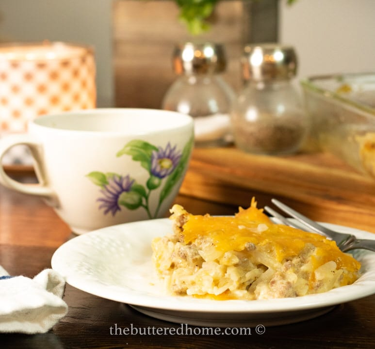 plate of sausage hasqhbrown casserole