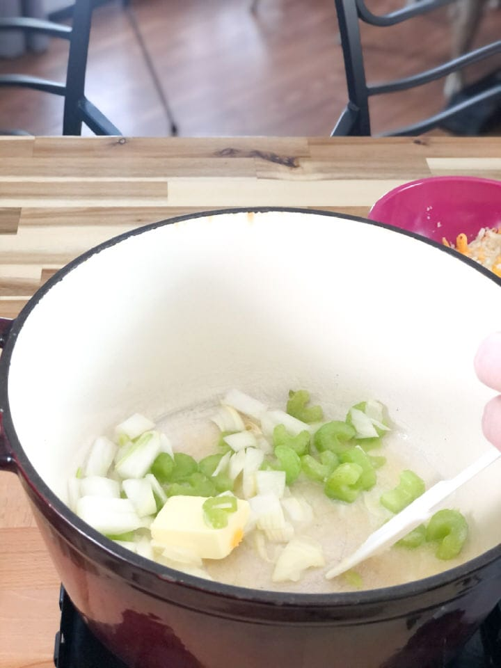 adding onions and celery to butter