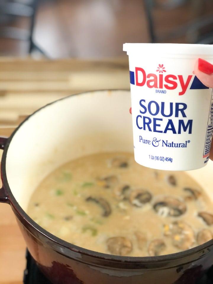 adding sour cream to brown rice