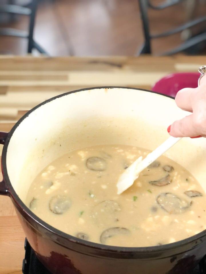 stirring brown rice