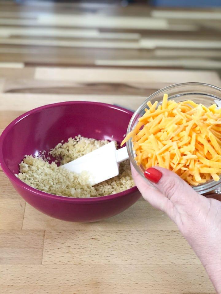 adding cheddar cheese
