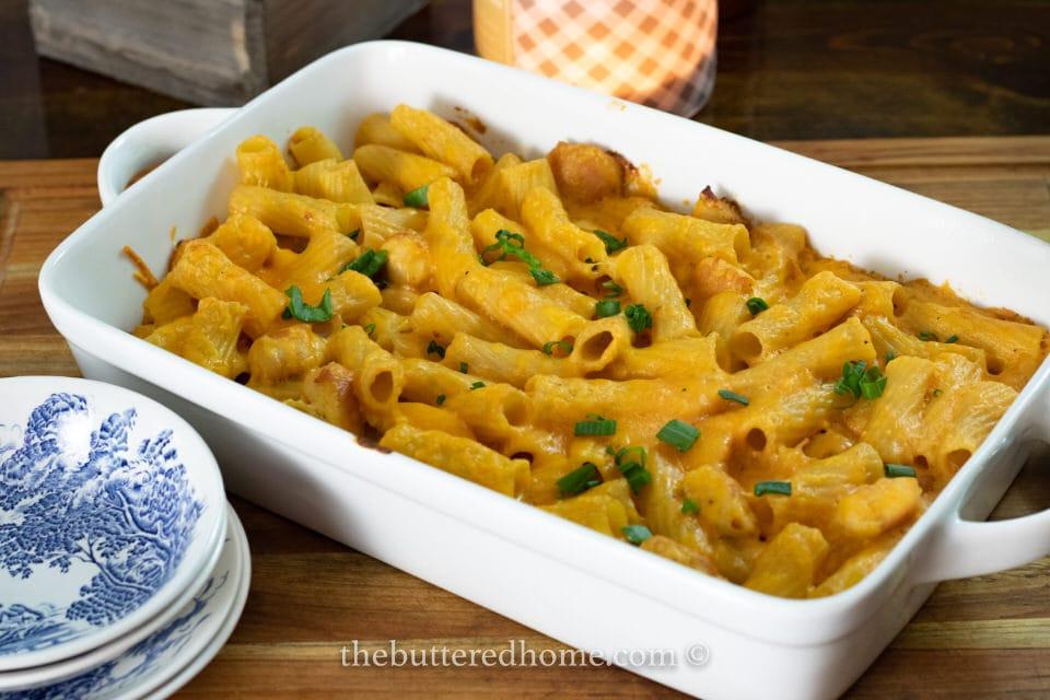 casserole dish of fried chicken casserole