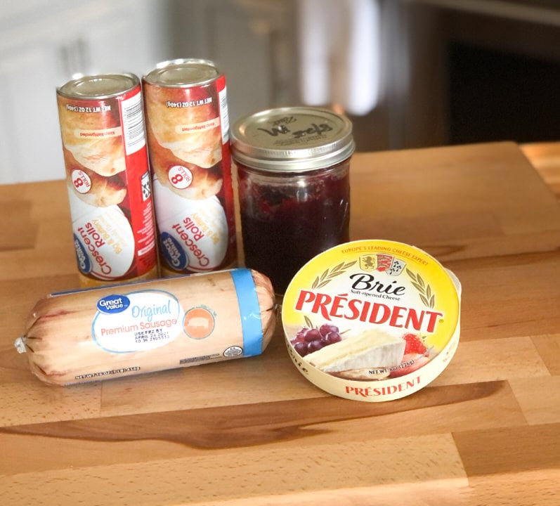 ingredients for sausage cranberry brie bites