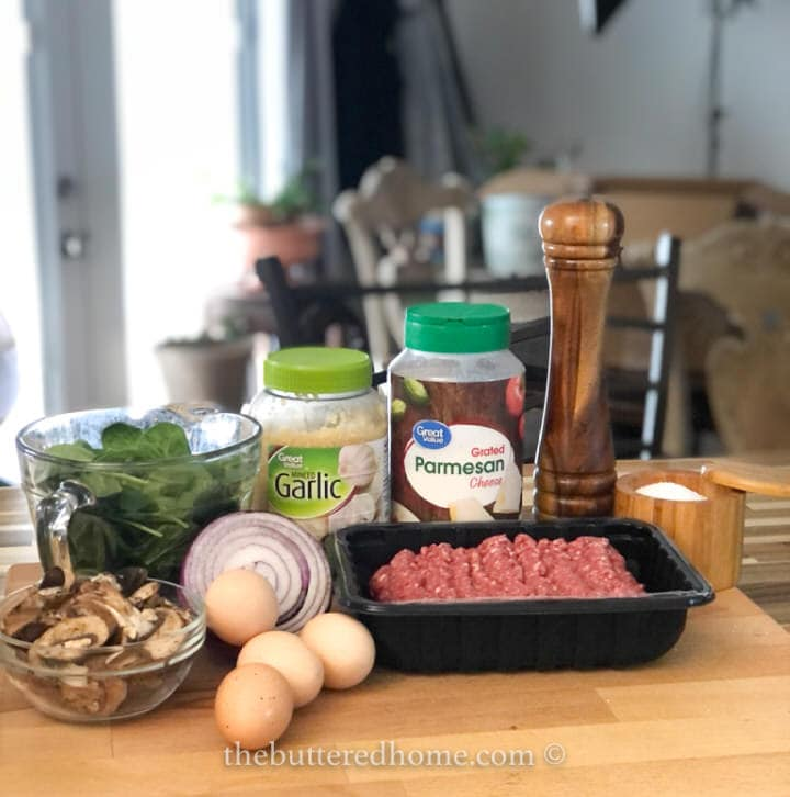 hamburger skillet with mushrooms and spinach ingredients