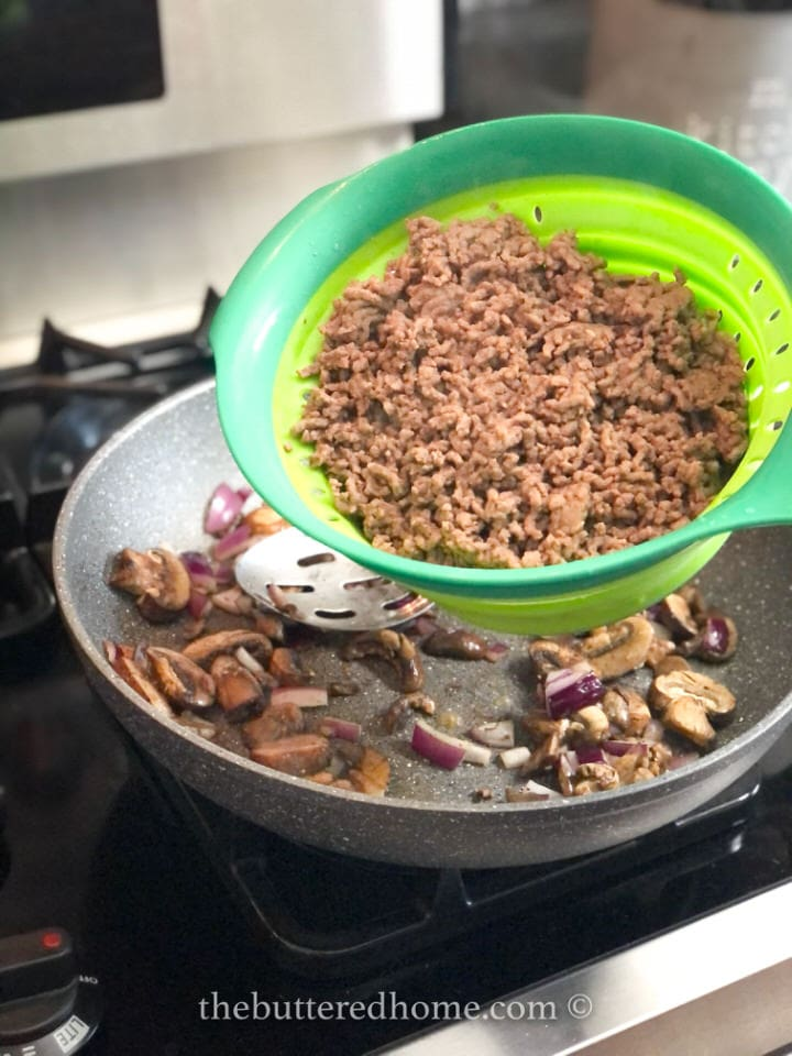 adding browned ground beef
