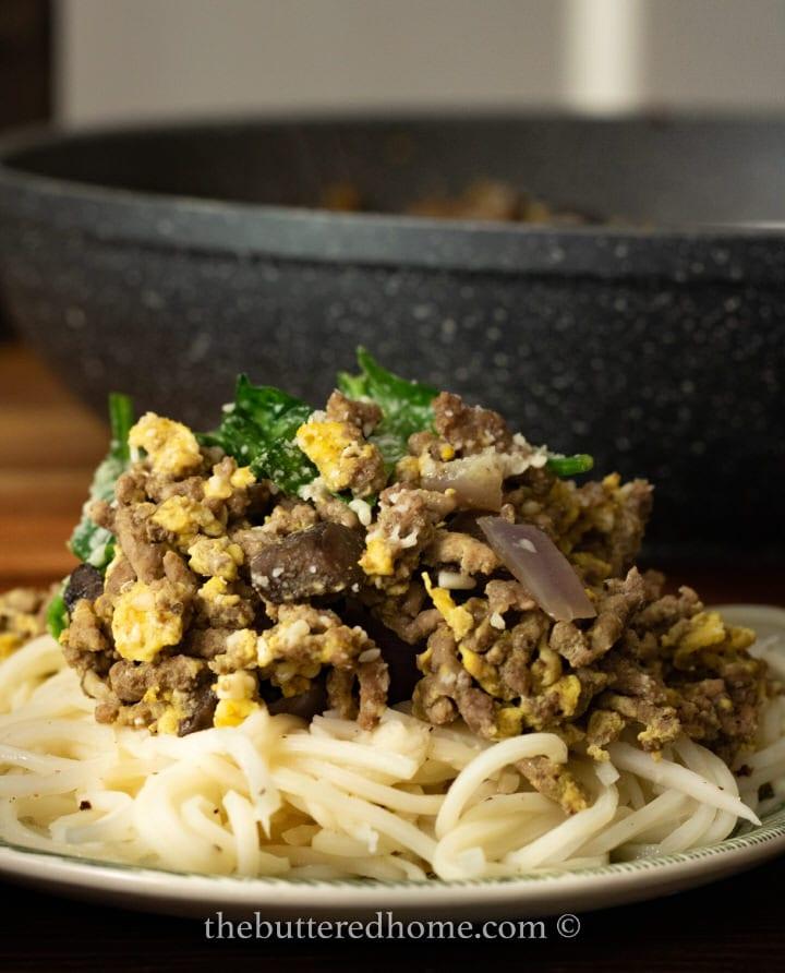 close up of noodles and hamburger skillet
