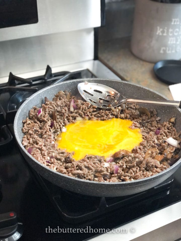 eggs in the middle until set, then pull in meat mixture
